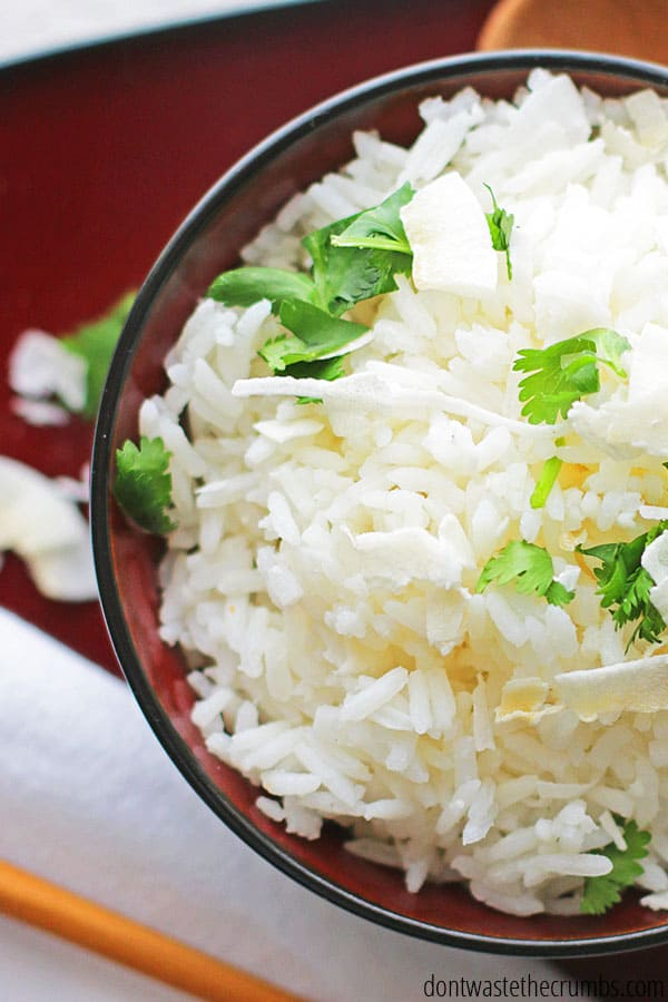 I like to use Jasmine rice to make coconut rice, but any white rice will work (basmati is another great option).