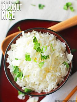Easy to make recipe for savory & healthy coconut rice! Made with jasmine or basmati rice & coconut milk/cream, this versatile recipe is a perfect side dish. :: DontWastetheCrumbs.com