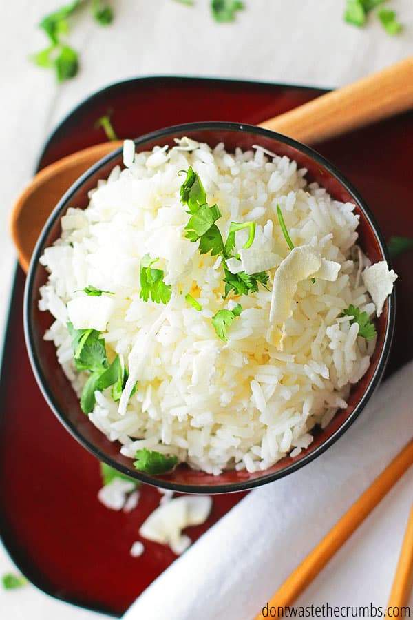 This coconut rice recipe can easily be made in the instant pot or rice cooker. Cooking times will vary, though. Let us know in the comments if you try another cooking method!