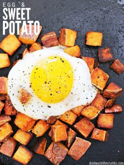Easy & healthy breakfast recipe for fried sweet potatoes and runny eggs. Ready in minutes and is great for using up leftover mashed or diced sweet potatoes! :: DontWastetheCrumbs.com