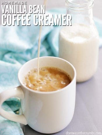 Try this easy recipe for homemade vanilla coffee creamer. With only 4 simple ingredients, it's naturally rich and decadent and tastes so much better than store-bought creamer. ::dontwastethecrumbs