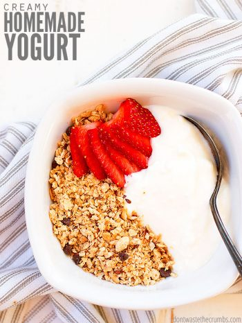 Try making this homemade yogurt recipe, which is easier than you think! It's much healthier than store-bought yogurt, and a great way to control the sweetener. Enjoy it flavored any way you like it! ::dontwastethecrumbs