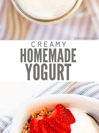 Learn How to Make Yogurt with this tutorial using the super easy heating pad method, or even an Instant Pot. Adjust the tartness and flavor to your liking! Pair with our decadent Chocolate Peanut Butter Granola, or our Homemade Cranberry Orange Granola and serve with fresh seasonal fruit. #instantpot #homemade #healthy #snack #breakfast #dontwastethecrumbs