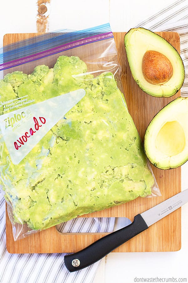 Using zip-sealed freezer bags or air-tight freezer containers are the best options for freezing avocado. Be sure to let all of the air out to prevent browning.