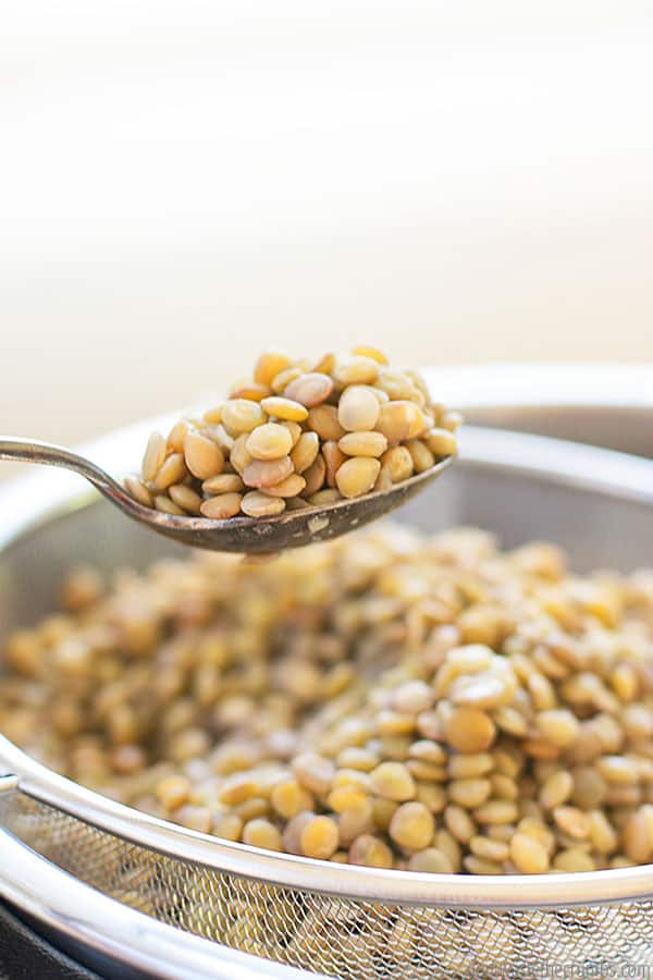 I love serving lentils with my homemade greek dressing. It is so tasty! I like to cook my lentils plain so they can work for a variety of recipes throughout the week.