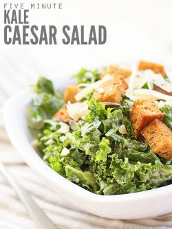 Kale is a great stand-in for romaine in Caesar Salad! It doesn't get soggy like lettuce and is super nutritious! A great option for salads year-round since kale is in season in cooler weather. Top with parmesan, croutons and your favorite caesar dressing! ::dontwastethecrumbs.com