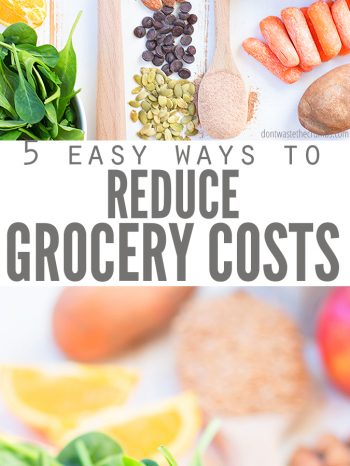 Here are 5 Fail-Proof Ways to Reduce Grocery Spending and still eat healthy! Learn about how meal planning and paying with cash can help you save on food! #dontwastethecrumbs.com