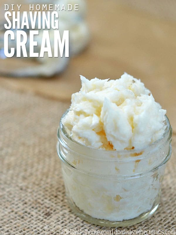 Easy tutorial for homemade shaving cream for men or women. This DIY natural shaving cream recipe lathers the skin & has no toxins or harmful ingredients! :: DontWastetheCrumbs.com
