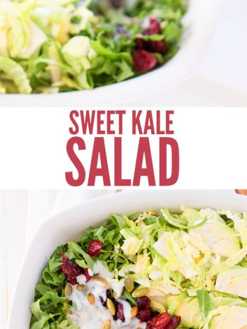 This is the BEST kale salad recipe. Incredibly delicious and flavorful, this #easyrecipe for sweet #kalesalad uses #cranberries, #brusselsprouts, broccoli stems, almonds, & a creamy homemade #greek yogurt dressing. Way healthier than Costco's bagged salad and super fast to make! My family loves this salad. It is perfect for family meals! #healthysalad #homemadedressing #almonds #lowcarb #kale #salad #healthyfood #realfood