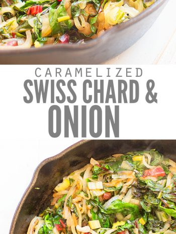 This Caramelized Onions and Swiss chard Recipe is super healthy and can easily be made vegan! We use rainbow or red chard and sometimes add peppers too! This is my husband's all-time favorite recipe! Enjoy it as a side with my Almond Crusted Baked Chicken Recipe!