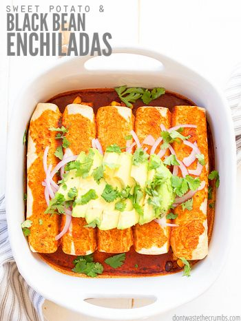 We love this recipe for sweet potato black bean enchiladas! It's healthy, vegan-friendly, and perfect with delicious toppings like diced avocado, tomatoes and lime crema! ::dontwastethecrumbs.com