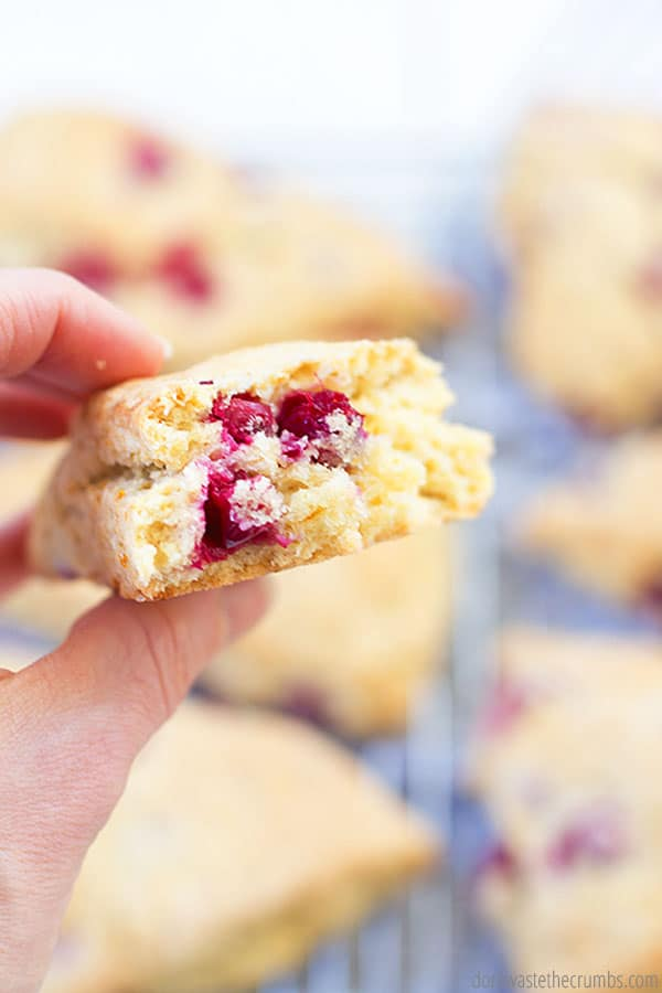 Perfectly fluffy and flaky, these scones are lightly sweet with a bit of cranberry and orange zest in every bite! Enjoy for breakfast or anytime!