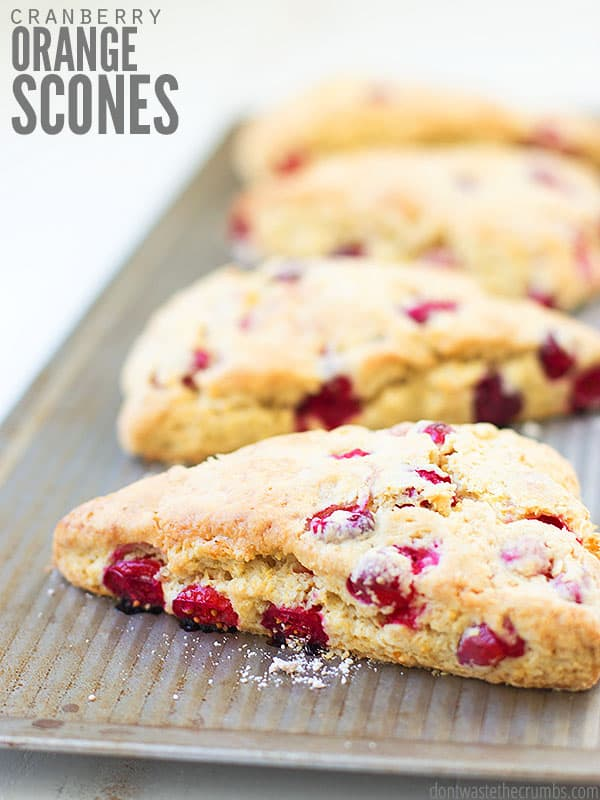 You'll wake up on the right side of the bed each morning with these delicious cranberry orange scones. Made with only fresh, real food ingredients like whole wheat Einkorn flour and coconut sugar, treat yourself to these with a hot cup of coffee in the morning! ::DontWastetheCrumbs.com