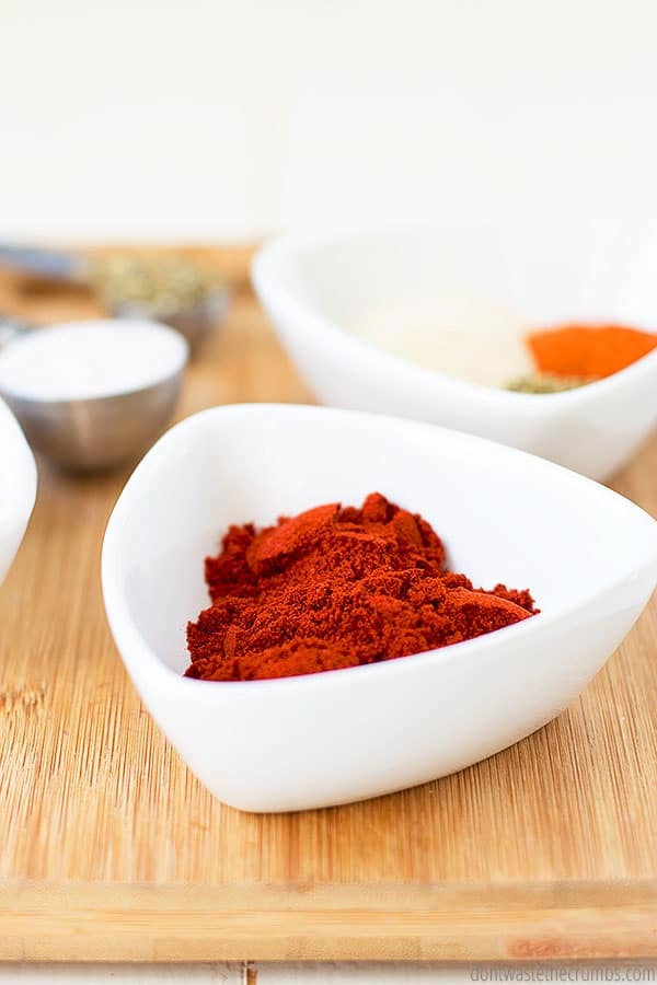 Cayenne pepper and paprika are key spices in this blackened seasoning blend which is spicy and flavorful. YUM!