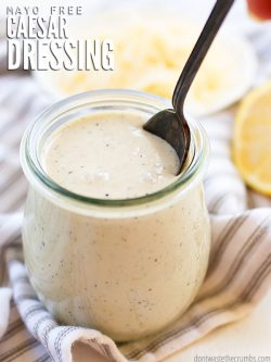 This flavorful, quick and easy No-Mayo Caesar Salad Dressing is made with healthy probiotics, and can be made dairy-free.