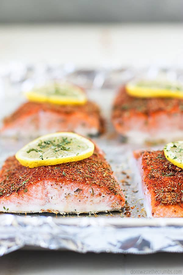 This spicy seasoning blend for this salmon recipe is made of dried herbs and is very healthy baked or grilled.
