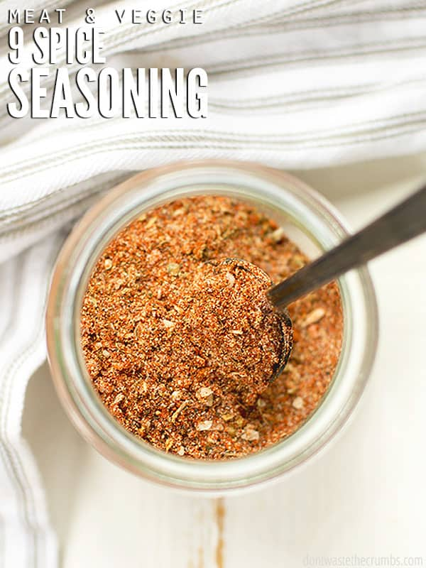 This seasoning blend of 9 spices mixes well together to create a flavorful and delicious spice for chicken or vegetables.