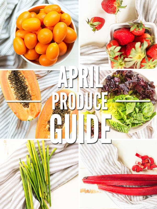 This April Seasonal Produce Guide will help you find the best fruits and vegetables to buy this month! Use this food guide to save money on groceries. Use these tips to eat real food on a budget! :: DontWastetheCrumbs.com