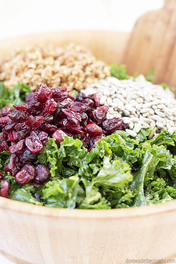 This kale salad recipe is delicious with walnuts and sunflower seeds. You can switch out the nuts if you prefer almonds or pecan. YUM!