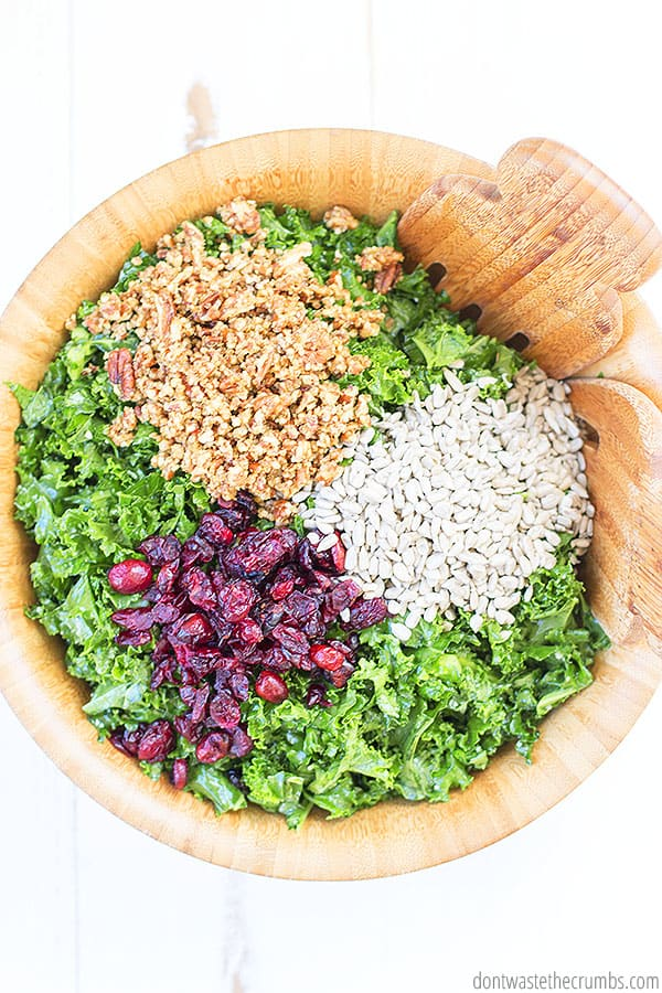 The delicious mix of flavor between the massaged dressing on the kale with the sweet tart cranberries and the earthy nuts...makes this salad so tasty! YUM