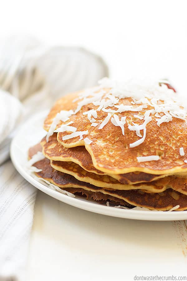This recipe for toasted coconut and banana sourdough pancakes can easily be adapted to be egg-free or gluten-free.
