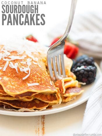 Easy recipe for Toasted Coconut and Banana Sourdough Pancakes. A great way to use up sourdough starter discard! Adaptable to gluten-free families, too! :: DontWastetheCrumbs.com