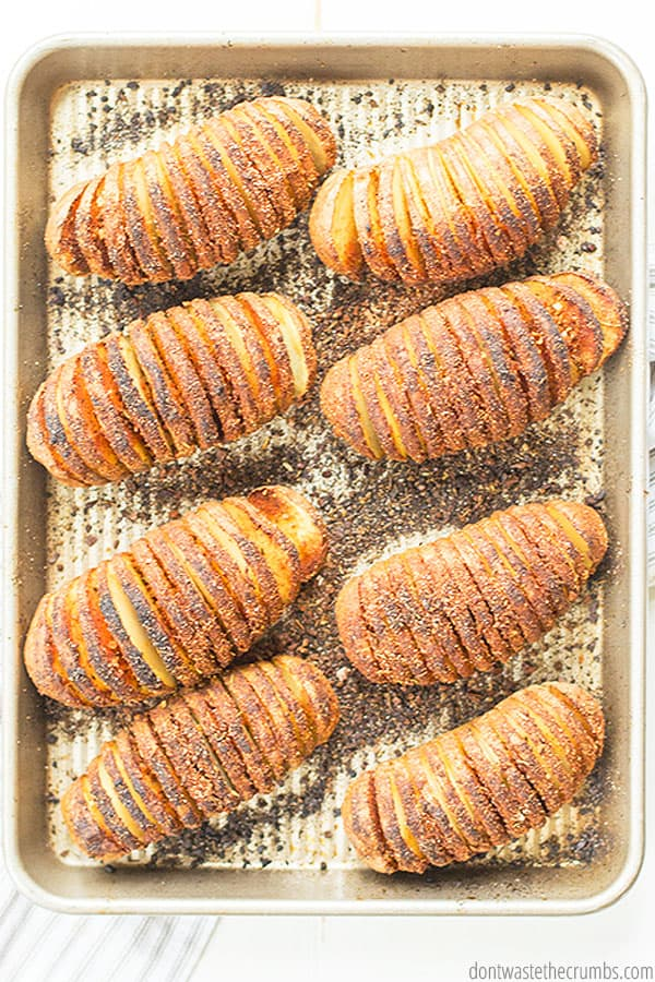 Hasselback potatoes are a fantastic side to serve to guests or for an easy dinner side. Many people love seasoning them with garlic, rosemary, and butter.