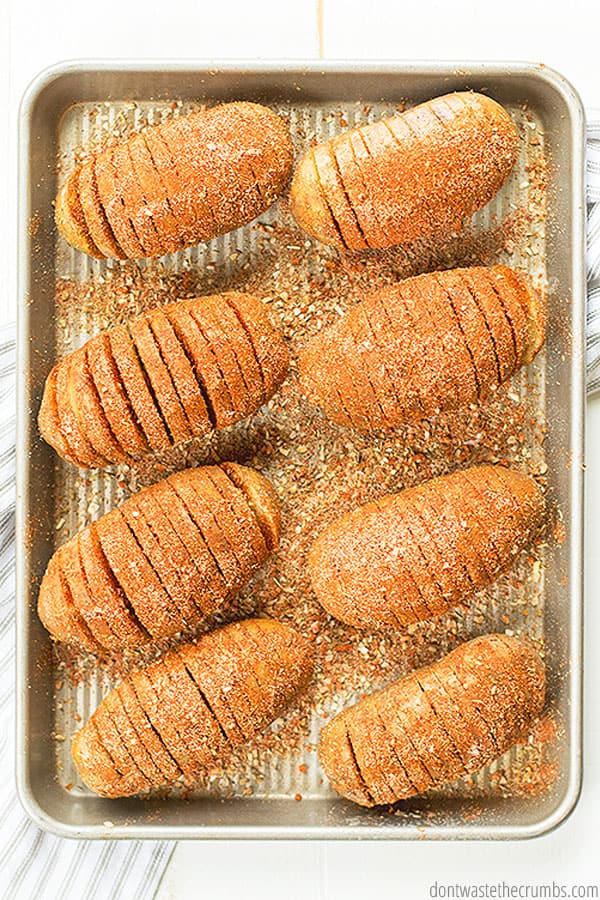 Want cheesy Hasselback potatoes? Add your favorite cheese! Parmesan works great, as well as cheddar cheese.