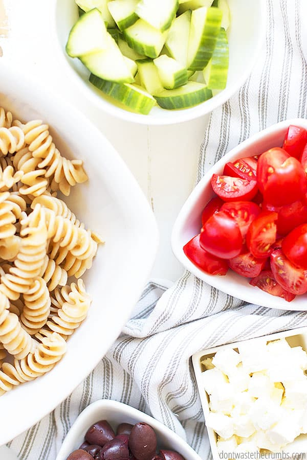 Using fresh produce is a great way to eat healthy, real food! This pasta salad is full of fresh ingredients.