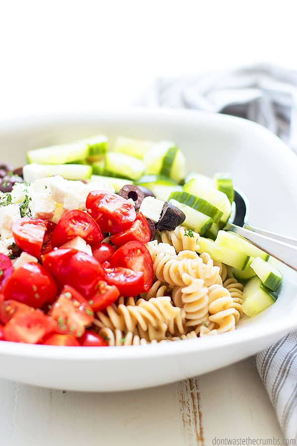 This Greek pasta salad recipe is versatile. Easily swap ingredients for what you have on hand, or use your favorite type of pasta!