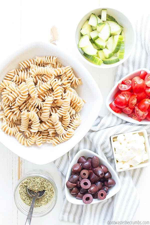 This simple, easy and delicious Greek pasta salad takes just minutes to make and will make your taste buds scream for more! Complete with a homemade Greek salad dressing, this will be your new favorite dish for home and potlucks!