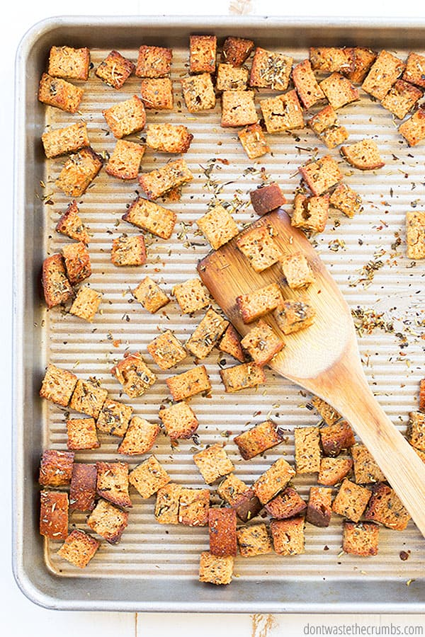These homemade croutons can be made with allergy friendly bread, whole grain bread, even sourdough bread! The recipe is versatile to whatever you have on hand.