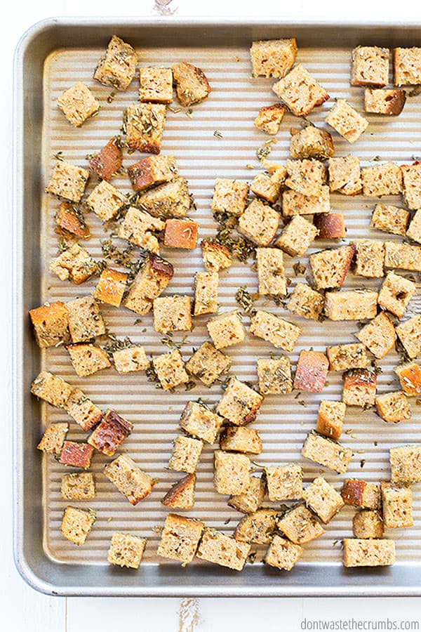 Learn how to make croutons with this simple recipe! Customize with your favorite seasoning blends.