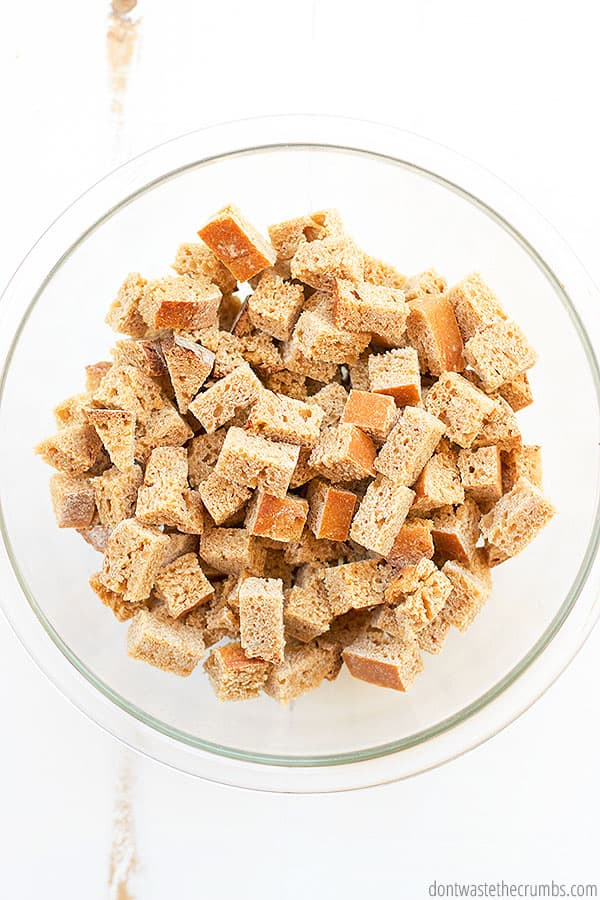Making the best homemade croutons is easy. You can use bread made from scratch or a regular loaf you've purchased.