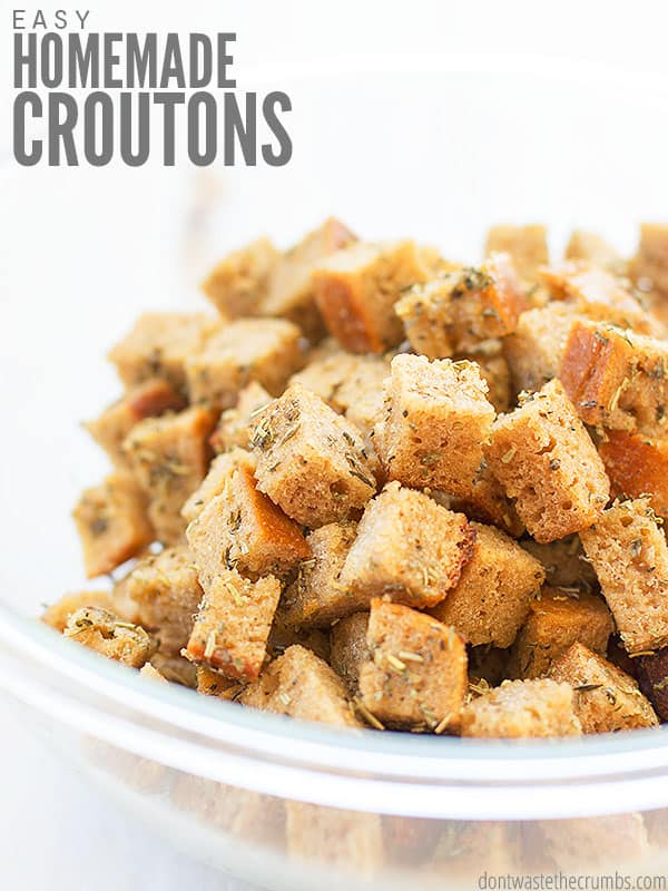 These easy homemade croutons are perfect for topping salads or soup! You can make them in the oven or on the stovetop.