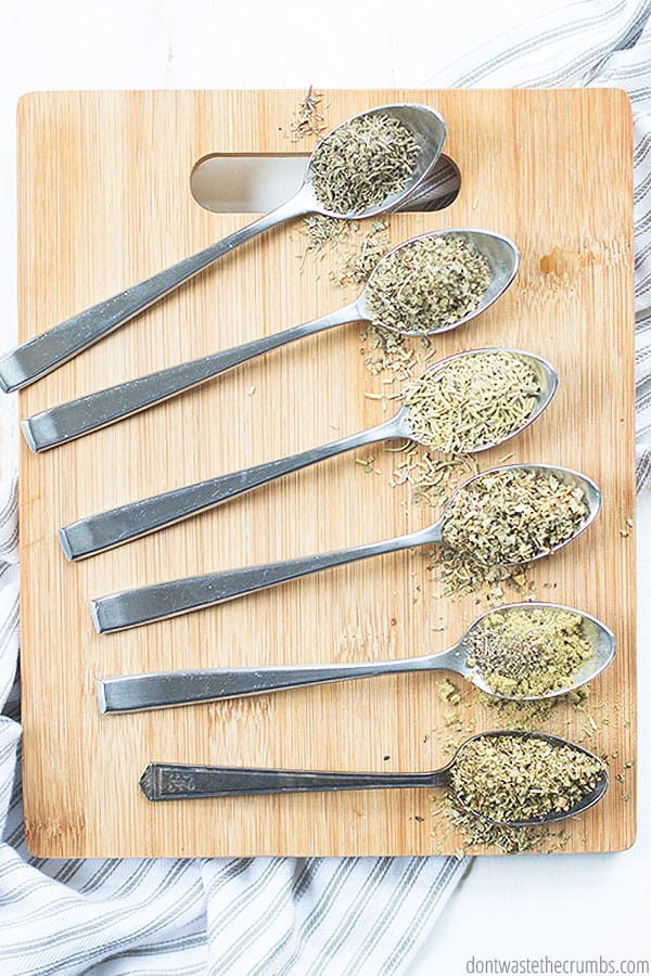 This homemade Italian seasoning mix uses 6 spices. It is versatile, so you can add other spices to the mix as preferred.