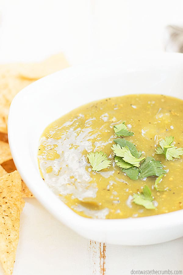 Salsa verde is green, rather than red and uses tomatillo, garlic, onion, jalapeno and cilantro. It's delicious and tangy and gives white chicken chili it's oomph! ::dontwastethecrumbs.com