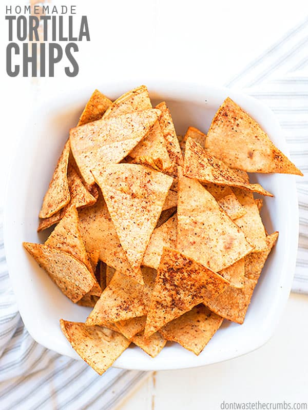 Try these baked Homemade Tortilla Chips made from corn, flour or cassava tortillas! A perfect way to use up leftover tortillas, and flavor any way you like!