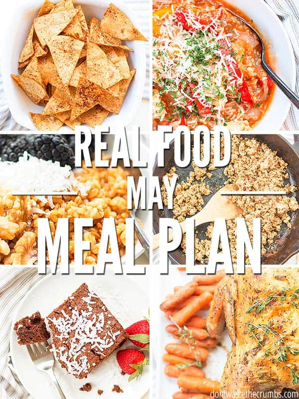 This healthy monthly meal plan on a budget will feed your family good food month long! Use these easy recipes to fill bellies and save money on groceries! You can even find delicious breakfast ideas like strawberry lemonade donuts and homemade breakfast sausage! :: DontWastetheCrumbs.com