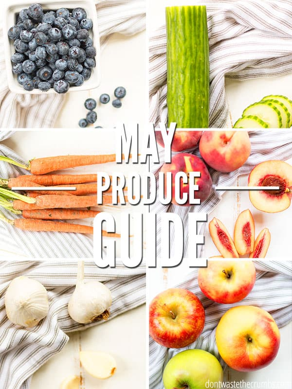 Curious what produce is in season? This produce guide will help you find what is currently in season! Buying seasonal produce will help you cut your grocery budget and put good food on the table. :: Dontwastethecrumbs.com