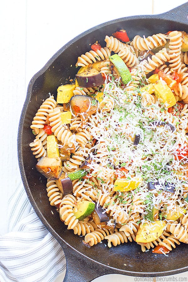 You can use a variety of pasta noodles for this veggie pasta dish, and even use gluten free pasta if you'd like!