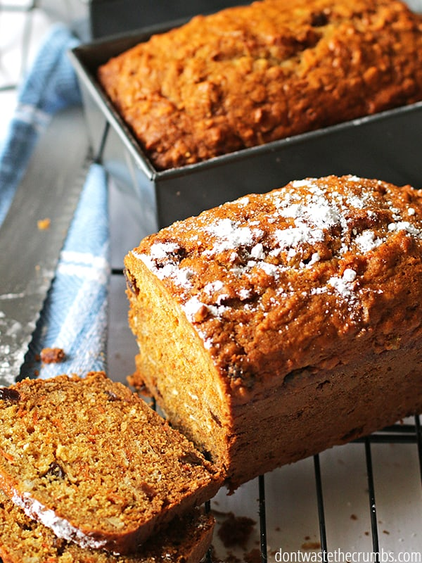 This carrot raisin bread is delicious. Even picky eaters love it! A great way to incorporate veggies into breakfast.