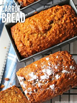 A simple recipe for breakfast spiced carrot bread made with real food ingredients like carrots, walnuts, and raisins - naturally sweetened with maple syrup. :: DontWastetheCrumbs.com