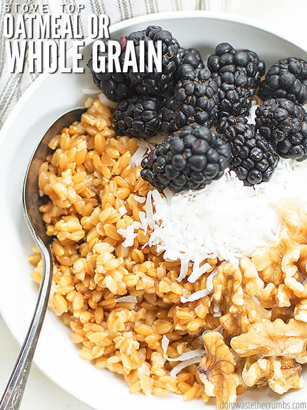 Making oatmeal or porridge is simple with this easy recipe! I use rolled oats and water, plus a few other optional ingredients.