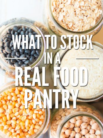 Stocking a frugal real food pantry saves time & money! Learn how to stock a pantry on a budget & basic pantry staples/ingredients every kitchen should have. :: DontWastetheCrumbs.com