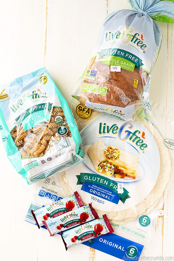There are so many options for buying gluten free pantry items at Aldi. Find your GF pasta, whole grain GF bread and GF tortilla wraps! Don't forget the yummy gluten free breakfast bars!