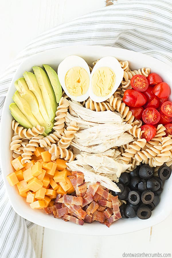 If you'd like to freeze your pasta salad, be sure to freeze the wet ingredients separate from the pasta. After thawing, combine all ingredients including dressing and you're good to go!