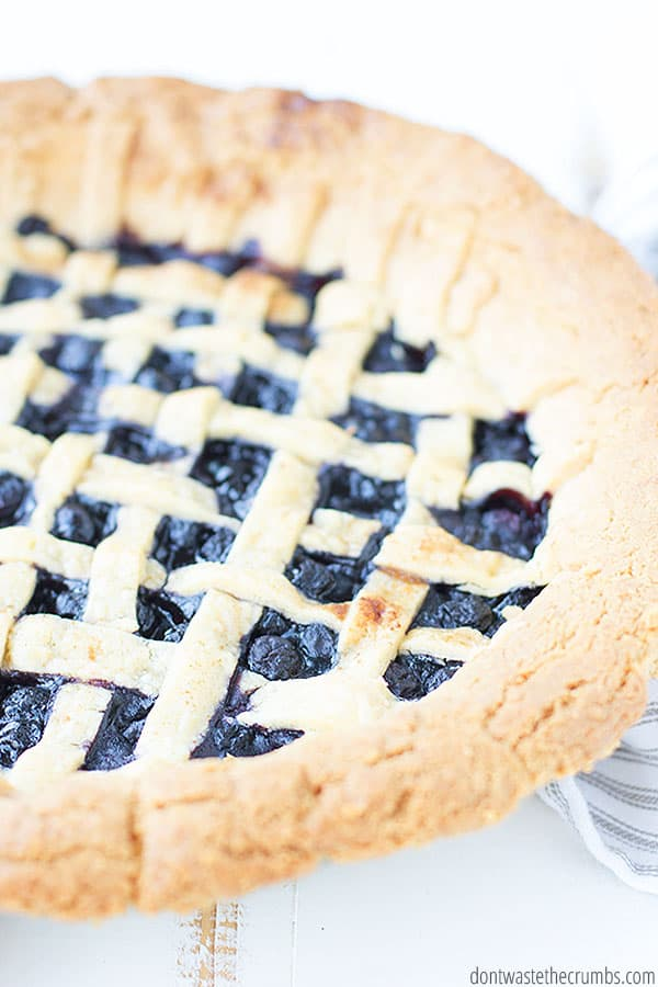 This easy to make blueberry pie can be made with frozen or fresh berries, so it is perfect for any season!
