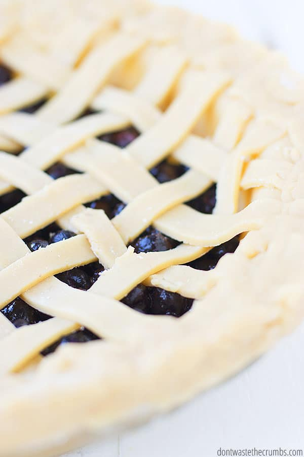 This blueberry pie recipe does not require the use of canned filling. The filling is made with fresh or frozen berries and real-food ingredients.