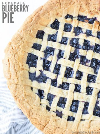 A versatile & easy blueberry pie that works with any kind of berry you have on hand - fresh or frozen! Made with delicious homemade pie crust. :: DontWastetheCrumbs.com